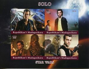 Madagascar 2018 MNH Han Solo Star Wars Chewbacca 4v Impf M/S Movies Film Stamps