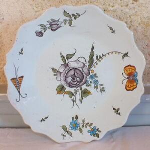 Plate-Earthenware-19-20eme-Decor-Samadet-Butterflies
