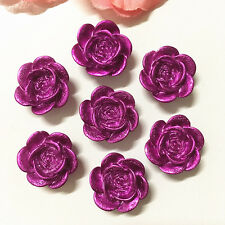 New 20PCS Coffee 14mm Resin Rose Flower flatback Appliques For phone//Craft~