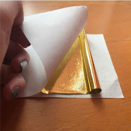 100pcs Gold Foil Thin Crafting Paper Make Golden Yellow Imitation Leaf Flakes MP