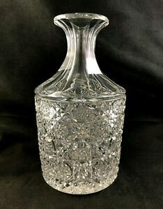 Antique-ABP-Cut-Glass-Double-Miter-CALVE-8-1-2-034-Decanter-Carafe-Egginton
