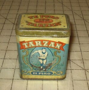 TARZAN-Te-Puro-4-034-Tall-TEA-Tin-from-URUGUAY-RARE-1950-039-s-Gutierrez-Montevideo