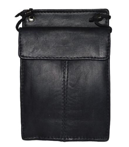 Genuine Leather ID PASSPORT Card Badge Holder Wallet//Pouch Black Neck Strap New