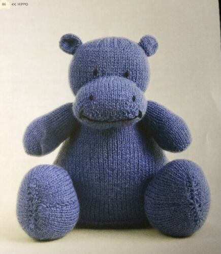 "Knitting Pattern For  Toy Animal Hippo 9.5/"" In Height"