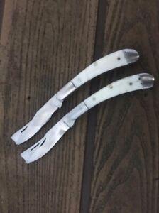 CUSTOM HAND Made D2 Tool STEEL 2 BLADE & CAMEL BONE HANDLE FOLDING KNIFE.& 2pec