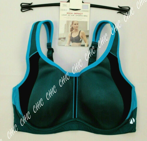 M/&S Collection Underwired High Impact Light As Air Sports Bra New Dark Turquoise
