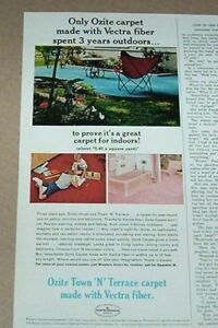 1966 Print Ad Ozite Indoor Outdoor Carpet Family Home
