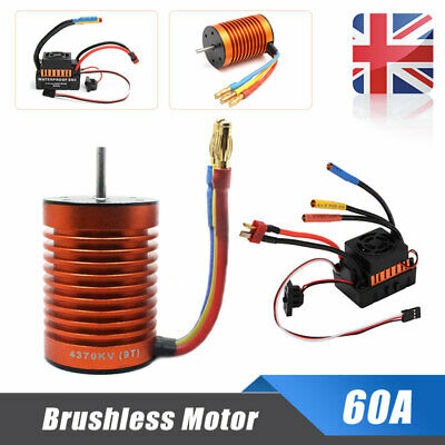 60A ESC Speed Controller Combo for 1//10 RC Car RC763 9T 4370KV Brushless Motor