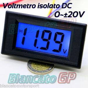 VOLTMETRO-DIGITALE-ISOLATO-20V-DC-LCD-LED-BLU-da-pannello-voltimetro-auto-coche
