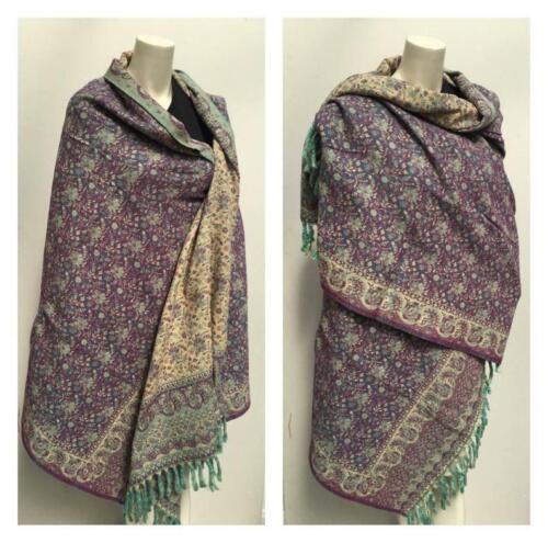 Unisex yak Wool shawl purple beige colour floral reversable SCARF,BLANKET gift