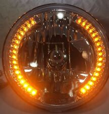 "Pair 7"" Crystal Headlights Lamps with 34 LED Amber Marker Turn Signal Lights 2"