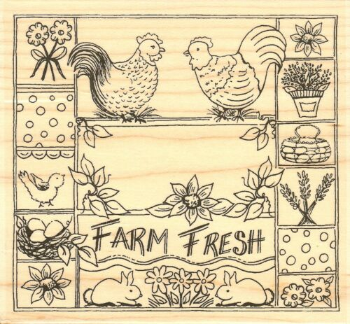 Farm Fresh, Wood Mounted Rubber Stamp IMPRESSION OBSESSION NEW, H16164