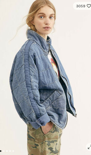 Free People Dolman Quilted Denim Jean Chambray Slouchy Jacket XS S M L $198