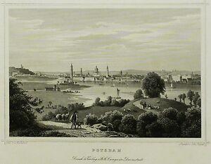 POTSDAM-Gesamtansicht-Johann-Poppel-Stahlstich-1852