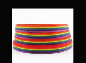 "Rainbow Ribbon 9mm Wide 3/8"" 1m Long"