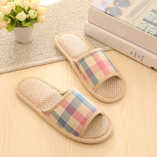 Ladies Cotton Linen Open Toe Home Slippers Slip On Flat Indoor Shoes Warm Casual