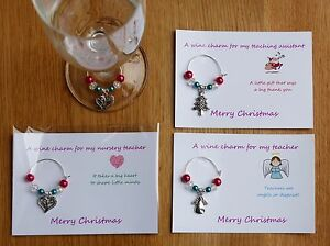 Personalised Wine Glass Charm TEACHER ASSISTANT THANK YOU GIFT many charms avail