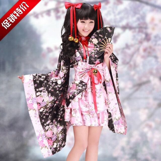Japanese Women Kimono Lolita Maid Uniform Outfit Anime Dress Cosplay Costume