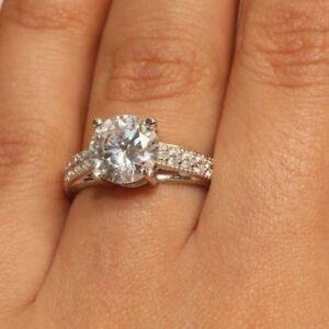 18K White Gold Finish Beautiful Diamond Engagement Promise Band 2ct Size 4