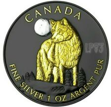 2011 1 Oz Canadian Wolf Silver Coin W/ Ruthenium & 24k Gold - Wildlife at Night.