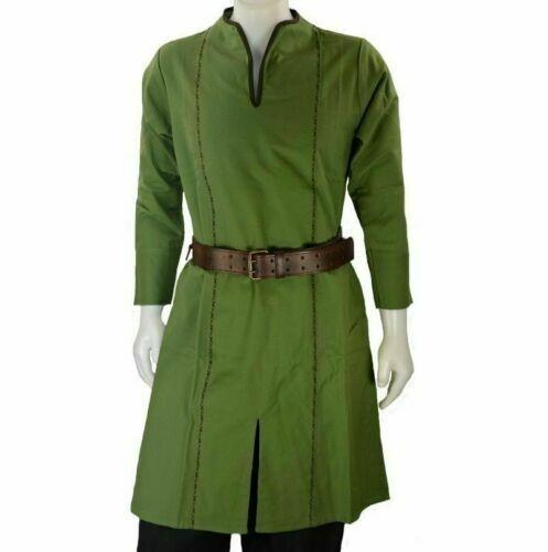 Viking Green Color Medieval Renaissance Tunic For Armor Reenactment Full Sleev