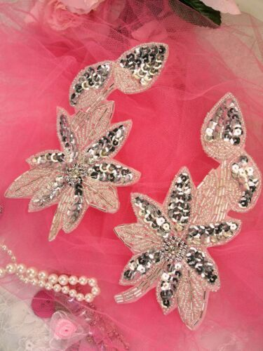 XR51 ~ Silver Mirror Pair Beaded Sequin Appliques  ~ 6/""