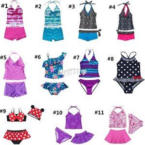 4551ac4602c2e Image is loading Girls-Kids-Tankini-Set-Swimwear-Bikini-Skirt-Swimsuit-