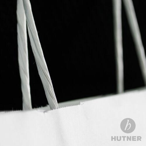 HUTNER32x12x41 Papiertragetaschen Papiertüten Kordelhenkel weiss 250 Stück