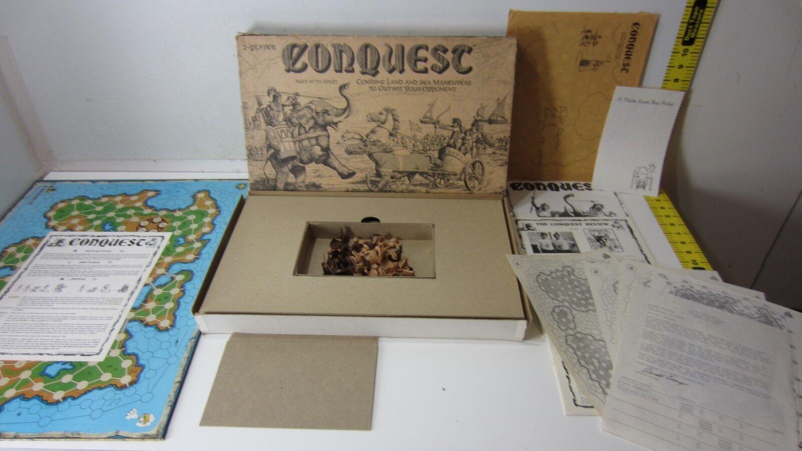 1980 Conquest 4 Spelare Medieval Strategi Board Spel w Lägg till Ons, Signerad Brev