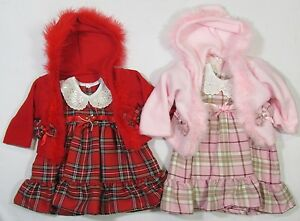 fa4d8d75ef Baby Girls Clothes Tartan Pink Red Fur Fluffy 2 Piece Dress Fleece ...