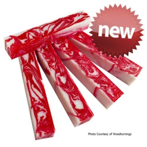 "3//4/"" x 3//4/"" x 5/"" Pen Blank Candy Cane Acrylester #132"