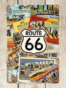 Historic New Mexico U.S 66 Route metal tin sign garage wall art