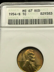 1954-S-Lincoln-Cent-Superb-Gem-BU-ANACS-MS-67-RD-3711