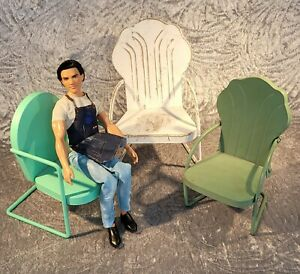 Set of 3 Cast Iron 1/4 Scale Doll Patio Chairs