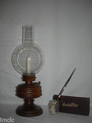 Beautiful Vintage Lathe Turned Wood Oil, Vintage Wood Oil Lamp Holder