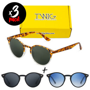 Tris-occhiali-da-sole-TWIG-Pack-POLLOCK-Premium-uomo-donna-tondi-vintage