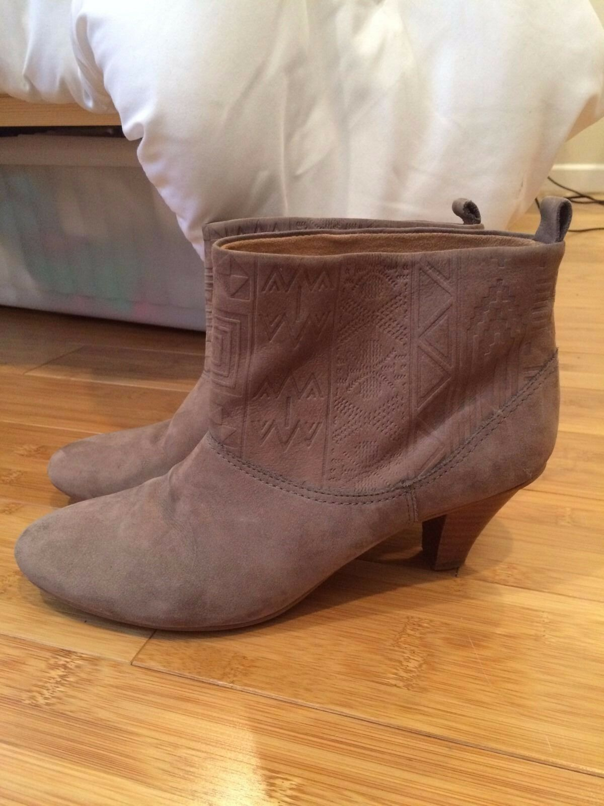 Cynthia Vincent Gray Suede Booties