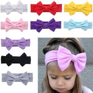 Uk Girl Kids Baby Cotton Bow Hairband Headband Stretch Turban Knot