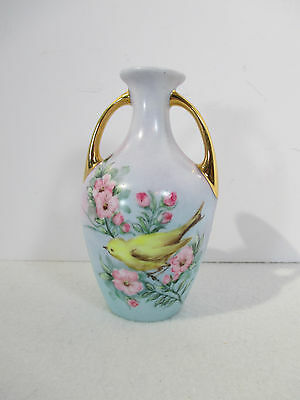Vase Hand Painted Yellow Canary Bird Flowers Gold Handles Signed Small 4.5""