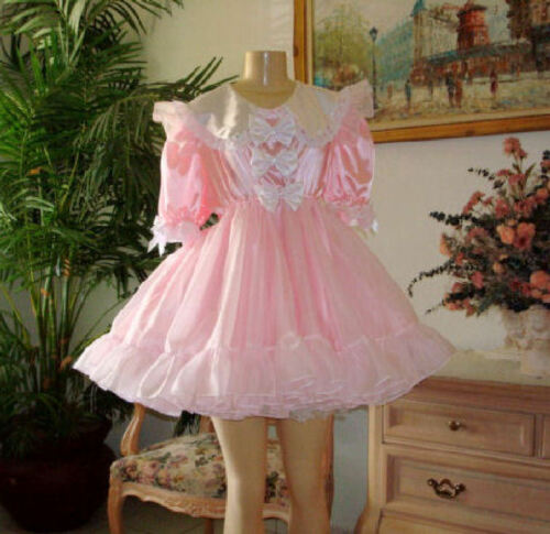 Neljen Vintage Lacey Adult Baby Doll Party  Dress lots of Sissy PINK Ruffles