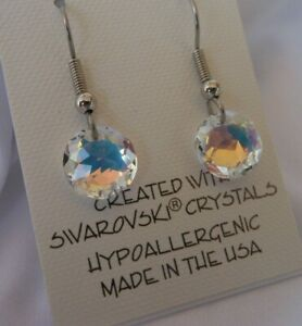 HYPOALLERGENIC-Dangle-Earrings-Swarovski-Elements-Crystal-Aurora-Borealis-AB