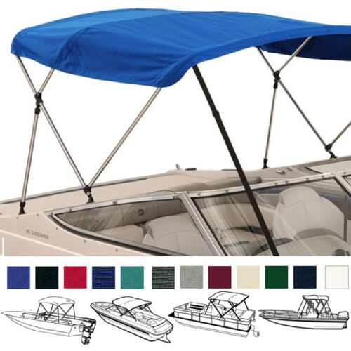 "BIMINI TOP BOAT COVER BLUE 3 BOW 72/""L 46/""H 73/""-78/""W Blue W// BOOT /& REAR POLES"