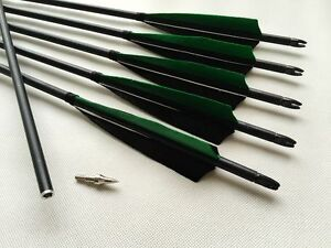 Details about 6PK Removable Tips Green Black Carbon Arrows Hunting Arrows  Compound Bow Archery