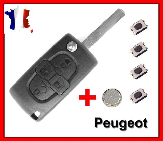 Carcasa de Llave Inteligente Caja para Peugeot 4 Botones 807 1007 Ce0523 + 4
