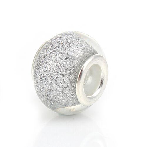 Silver Glitter Clear Murano Glass Charmadillo Bead for European Charm Bracelets