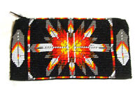 Beaded Tote Bag Native American Design Fabric Lined Zips Close 7x3.5 Black