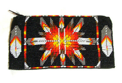 "Beaded Tote Bag Native American design Fabric Lined Zips close 7x3.5"" BLACK"