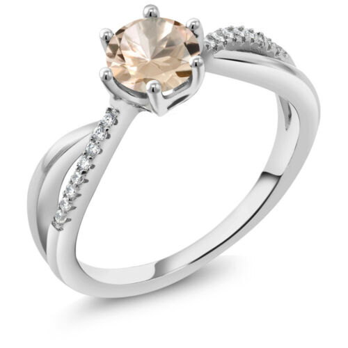 0.79 Ct Round Peach Morganite 925 Sterling Silver Infinity Ring