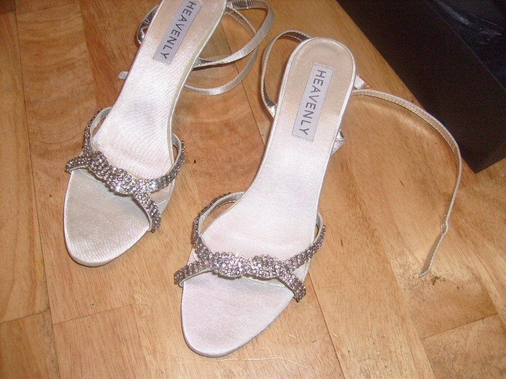 Ladies bridal bride wedding prom bridesmaid party shoes Satin Ivory Size 4 6 8