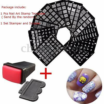 Kit Uñas Sello Placa Metal Estampado Nail Art Stamper Stamping Decoración Plate